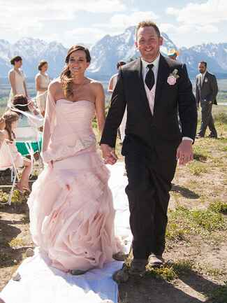 Blush pink Vera Wang wedding dress