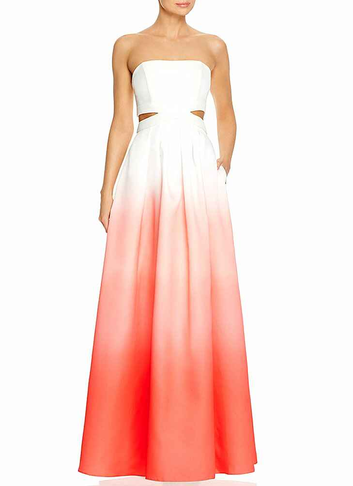 Coral and white ombre beach wedding guest dress