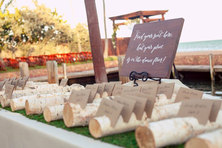 Guests found their names and table assignments calligraphed on thick kraft paper cards, displayed on sliced birch tree branches.