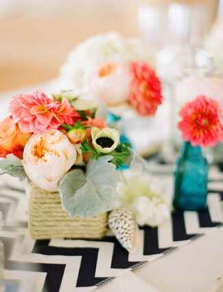 Chevron reception table runner with twine-wrapped centerpiece
