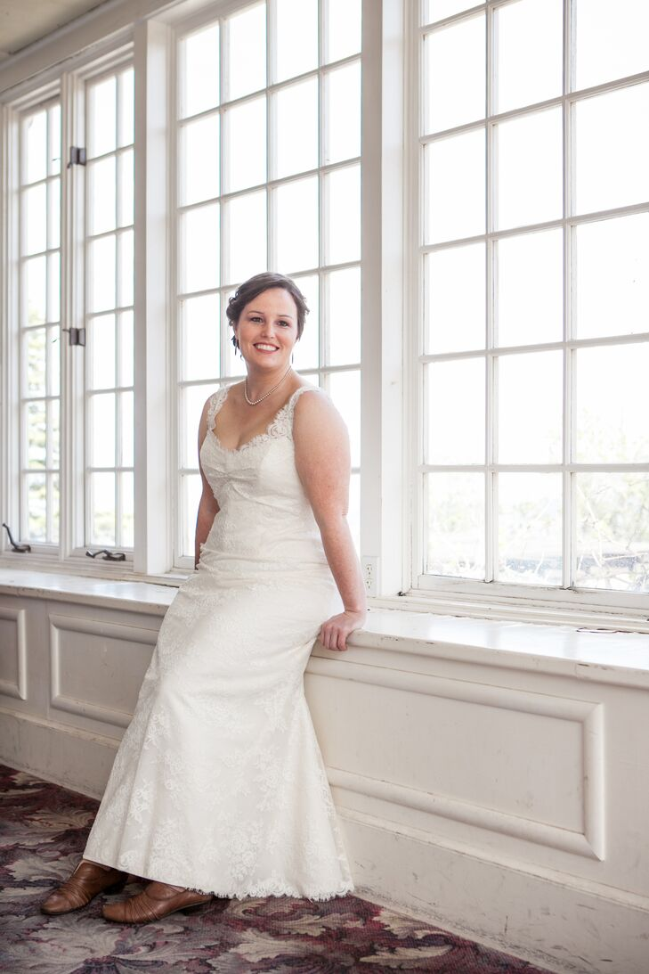 Simple White Wedding Gown with Straps