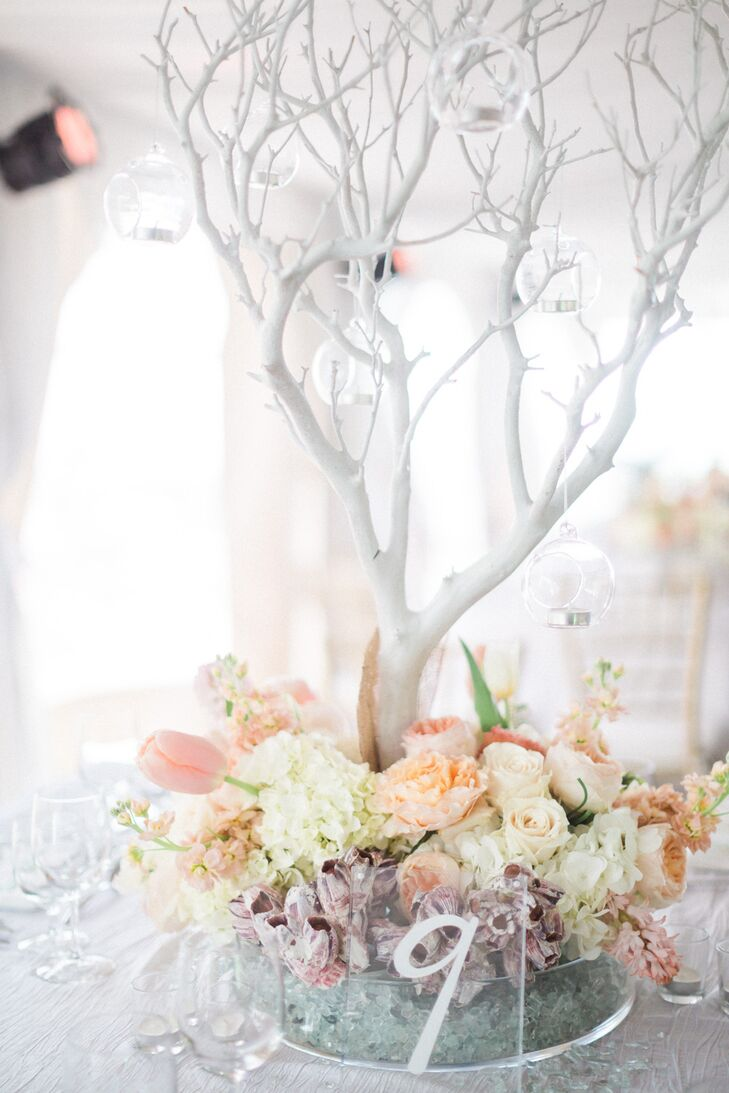 Whimsical white manzanita branch centerpiece