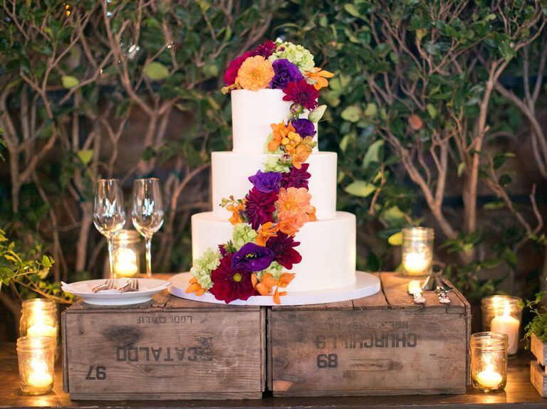 Fall inspired floral wedding cake
