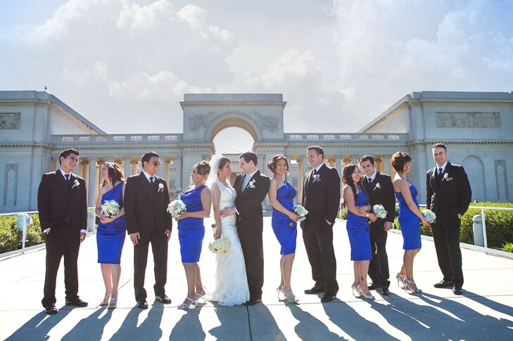 The married couple stood with their groomsmen and bridesmaids at the Legion of Honor in San Francisco, California.