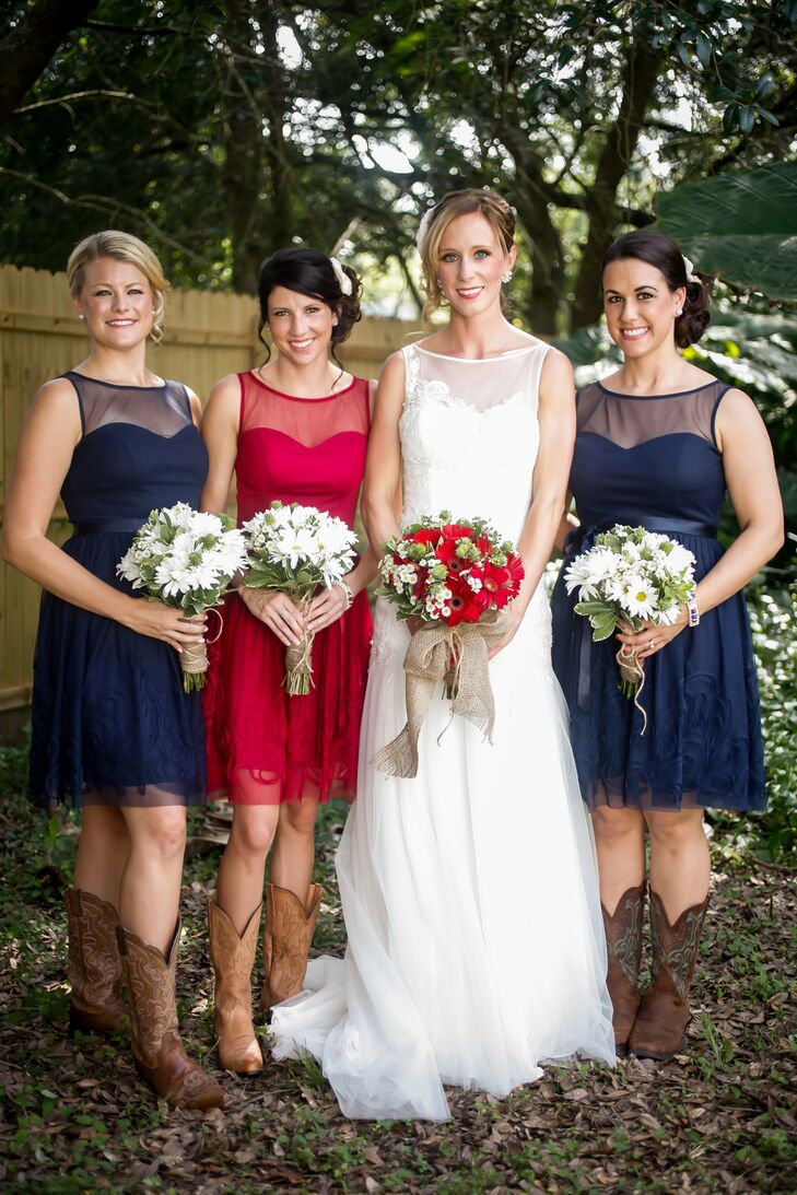 Navy and Blue Rosette Detailed Bridesmaid Dresses