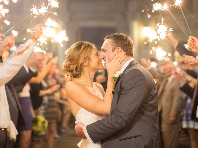 Bride and groom during sparkler send-off