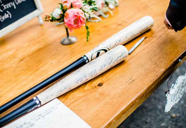 Baseball Bat Guest Book | Leo Timoshuk Photography | blog.theknot.com