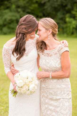 Mother of the bride and bride on her wedding day