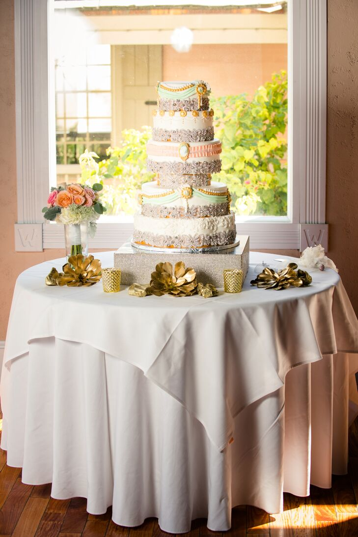 Whimsical Five-Tier Wedding Cake