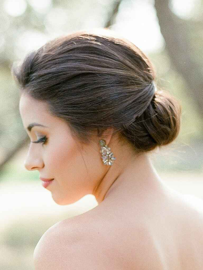 Wedding hair updo low bun chignon