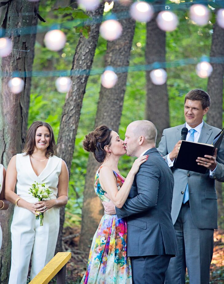 First Kiss in a Backyard Wedding Ceremony