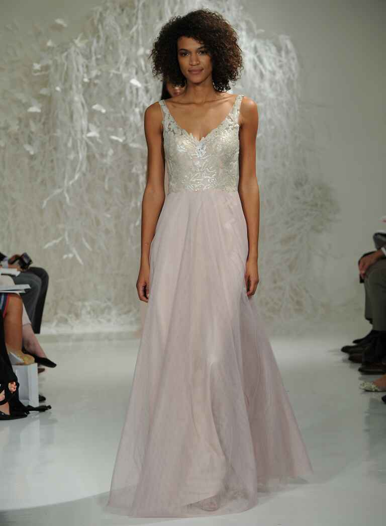 Watters Fall 2016 silver and blush wedding dress with sparkly lace bodice and flowing tulle skirt