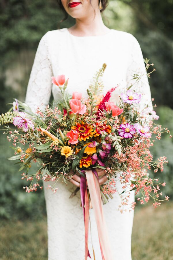 Blush, Fuchsia and Orange Wildflower Bouquet