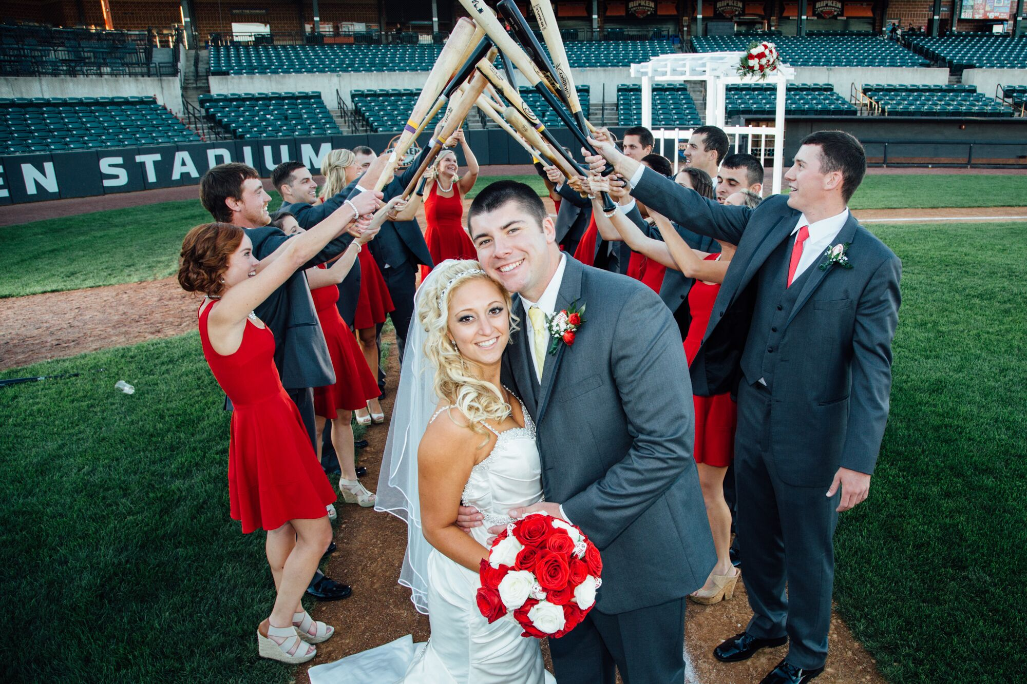 A Fun Baseball Themed Wedding At Ripken Stadium In