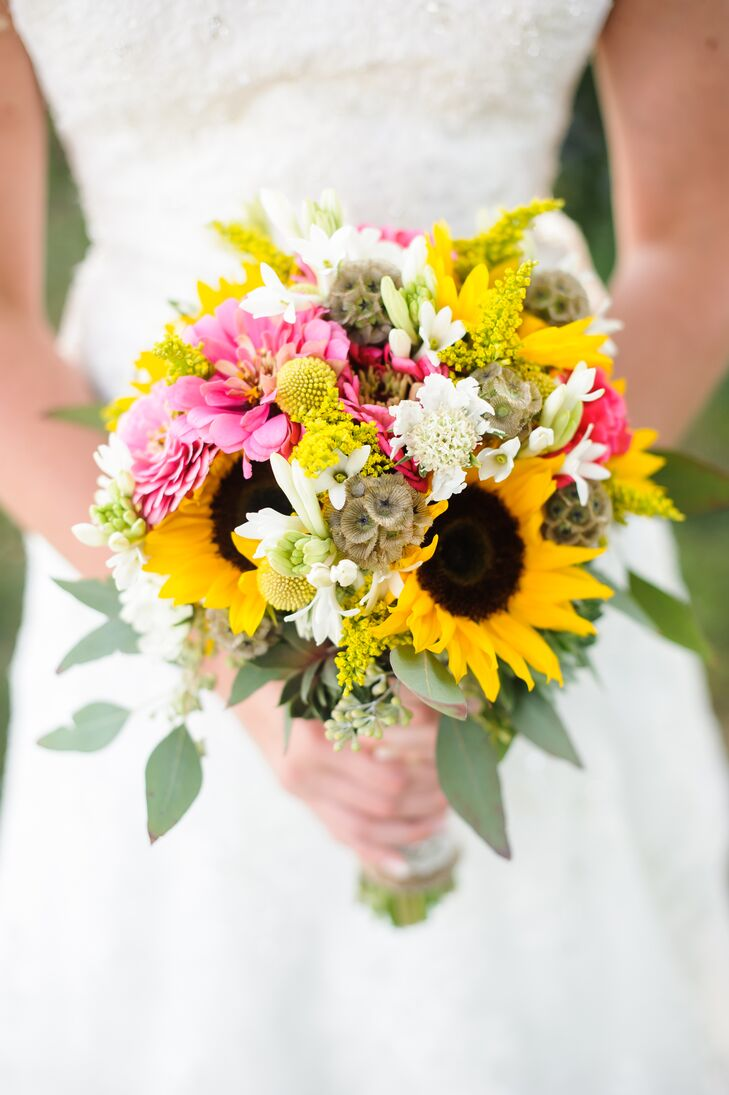 Bouquet With Sunflowers Aster And Scabiosa
