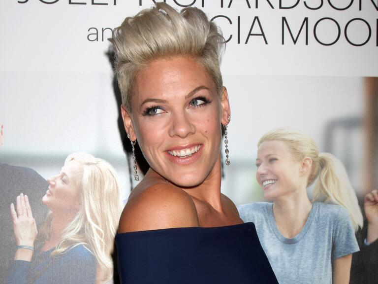 Pink poses at an event