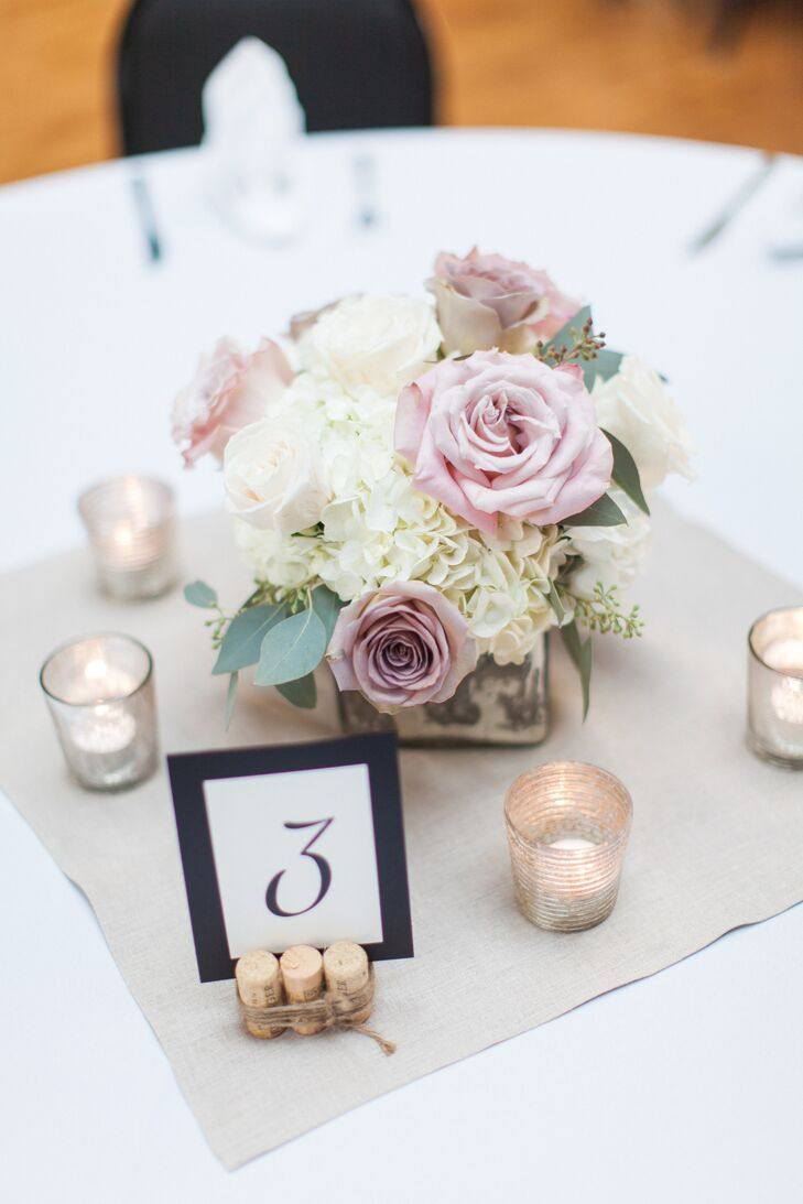Blush Rose, White Hydrangea Wedding Centerpieces