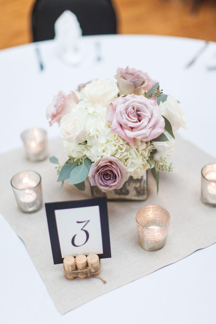 Blush Rose White Hydrangea Wedding Centerpieces