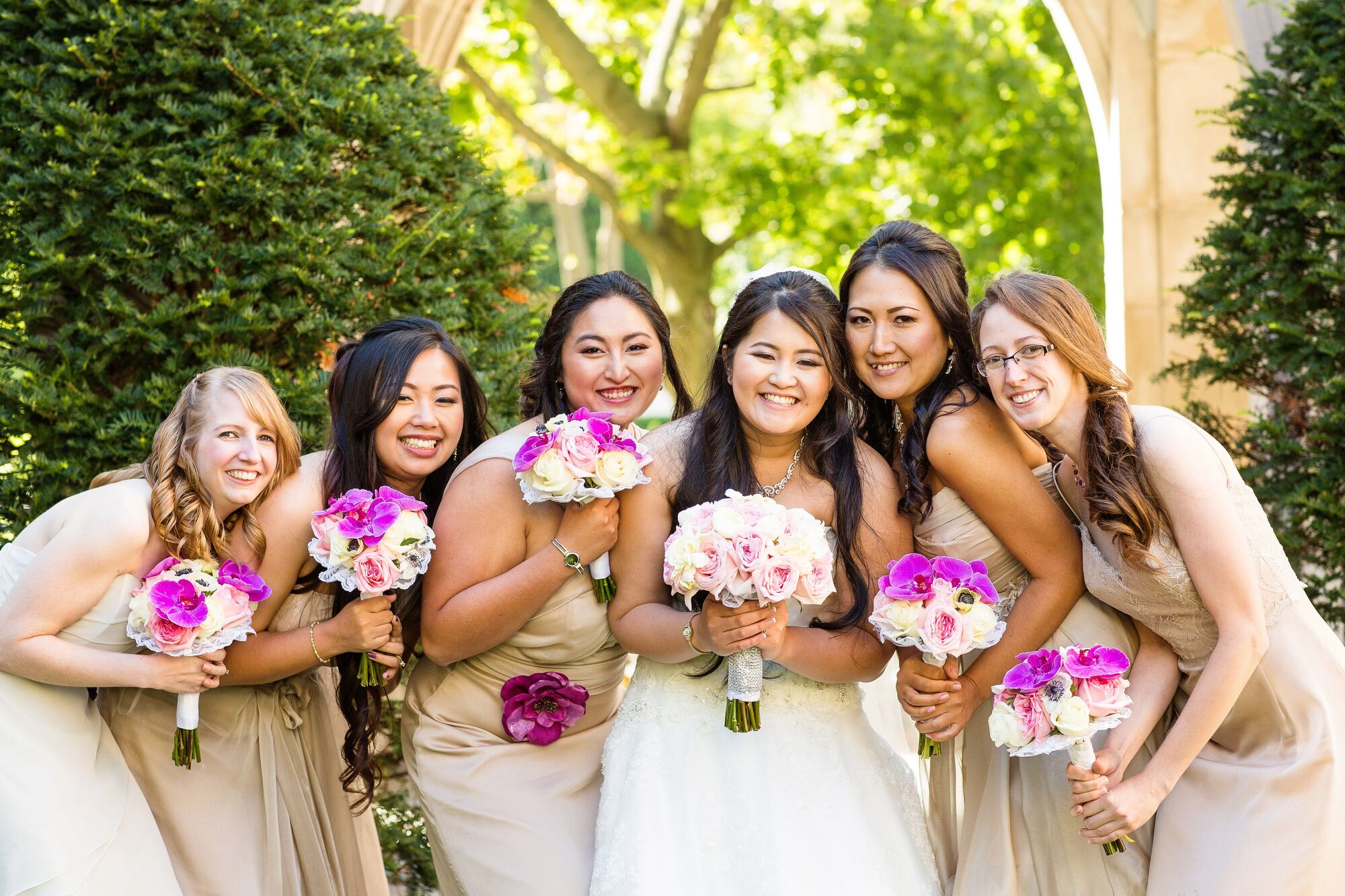 Real Bridesmaids In Beige Bridesmaid Dresses: Short, Mismatched, Beige Bridesmaid Dresses