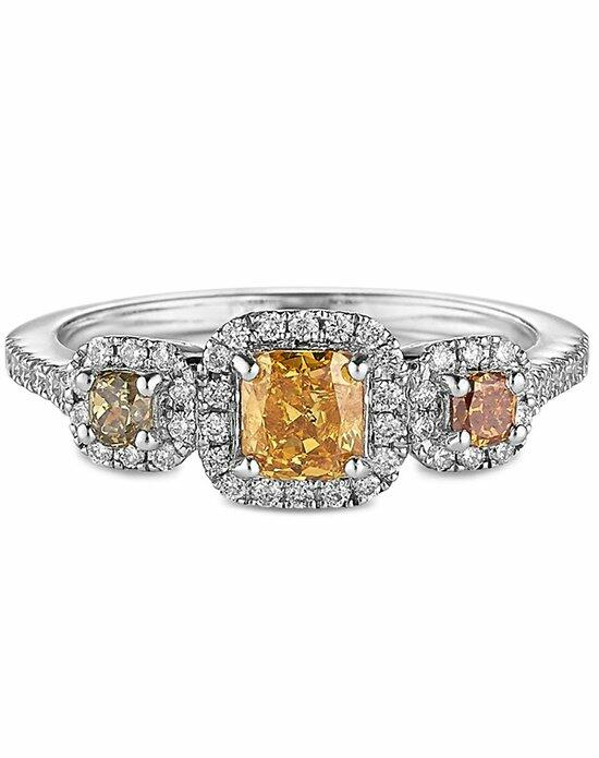 Ritani Three-Stone Cushion Halo Multi Fancy Colored Diamond Engagement Ring in 18kt White Gold (0.93 CTW) Engagement Ring photo