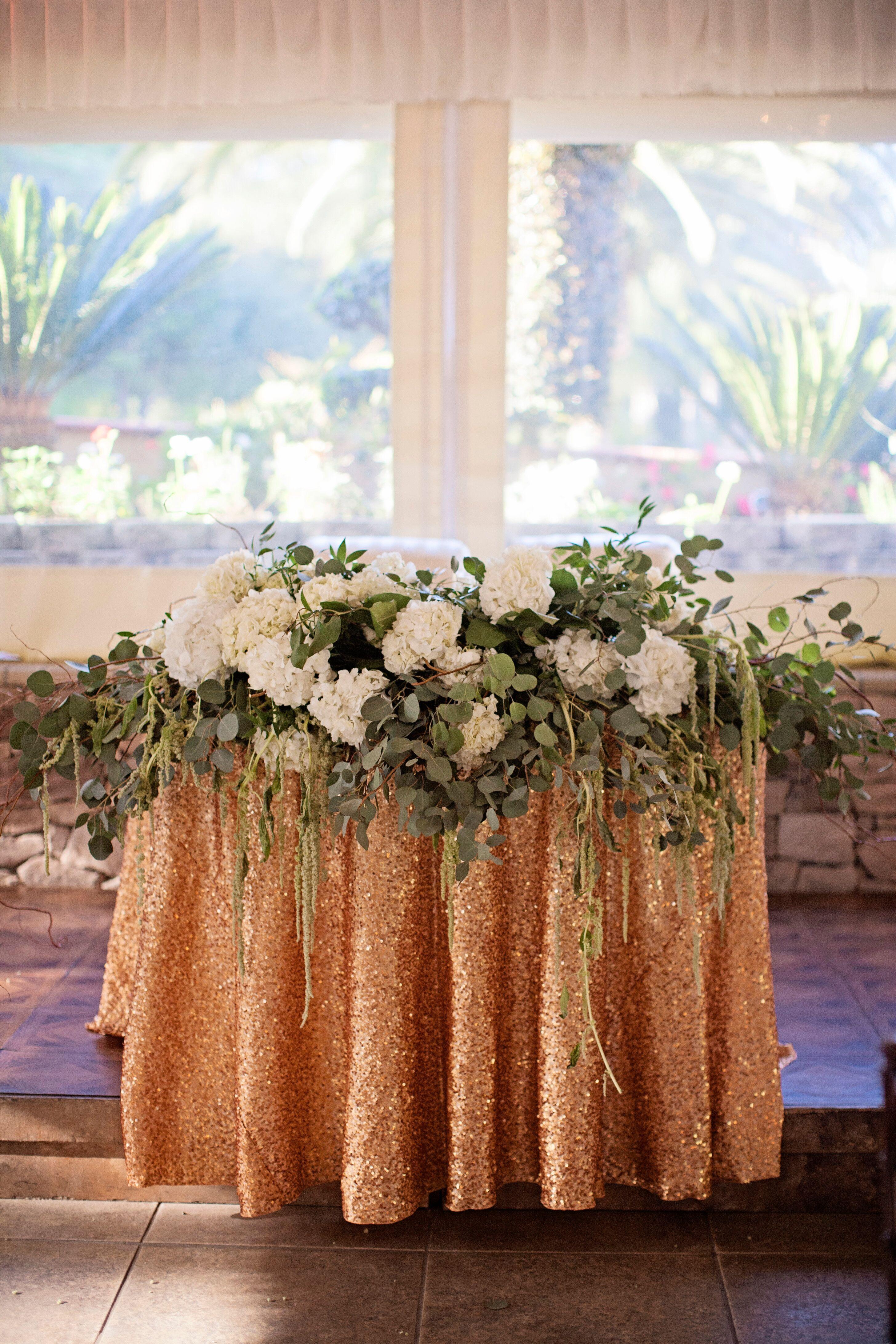 Eucalyptus And Hydrangea Sweetheart Table Garland