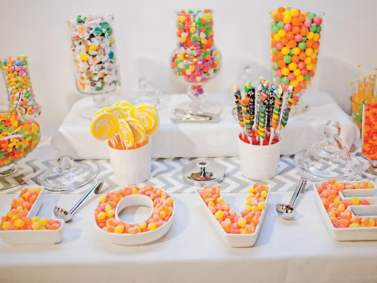 white letter candy dish
