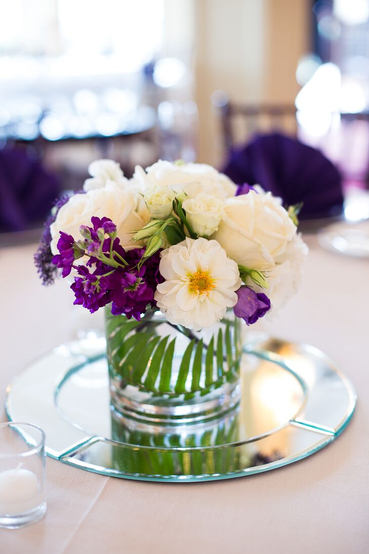 Purple And White Centerpieces With Roses And Zinnias