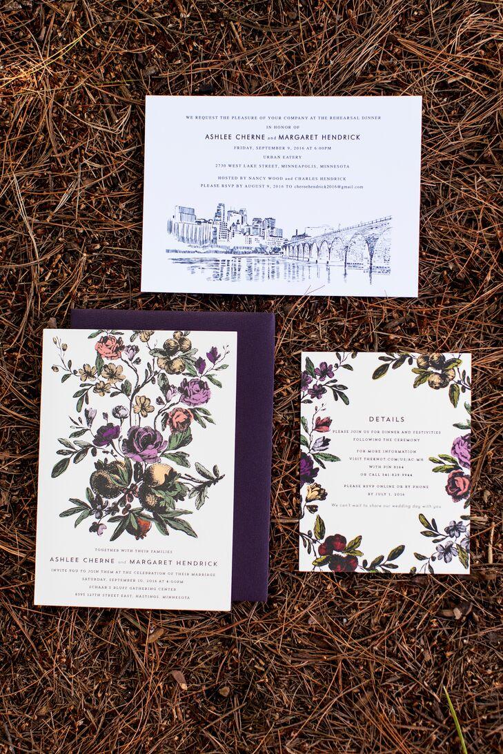 Simple minimalist prairie flower invitations for Minimalist floral wedding invitations