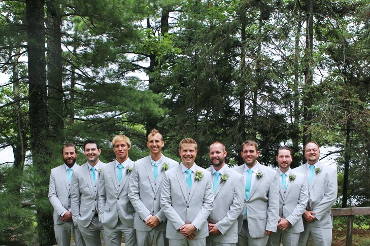 Grey Express Suits with Teal Tie and Succulent Boutonniere