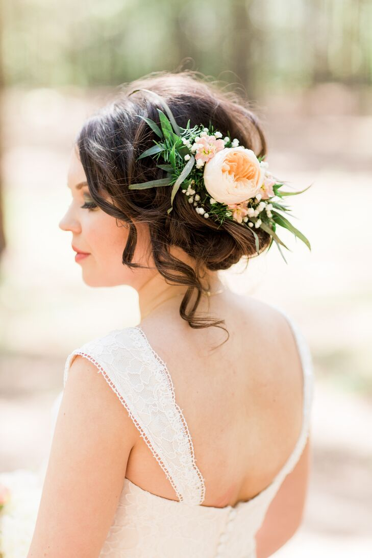 Bridal Hair Down With Flowers : Bridal up hairstyle with flowers and greenery