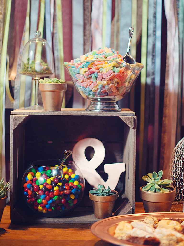 Colorful wedding reception candy bar