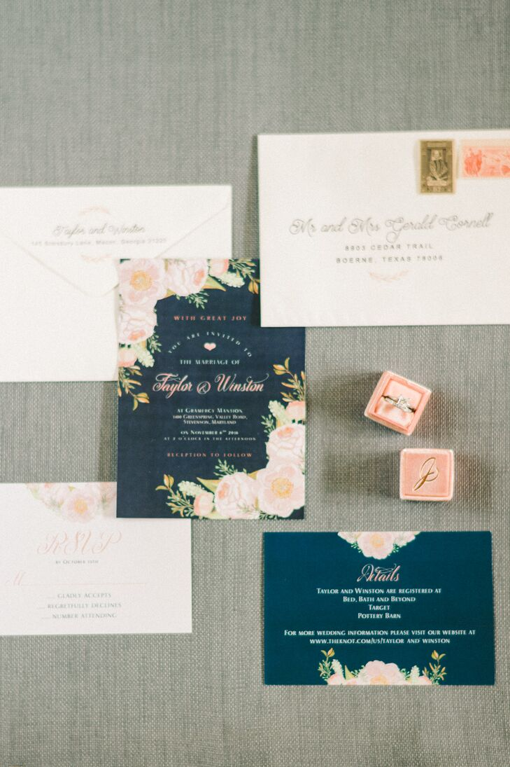 Navy and Blush Floral Wedding Invitations
