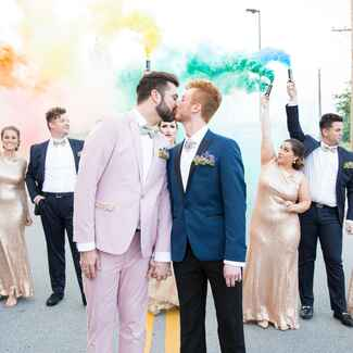 rainbow smoke bomb wedding exit