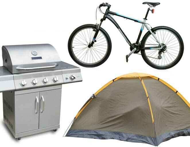 Hobby wedding registry: barbecue, camping tent, bicycles