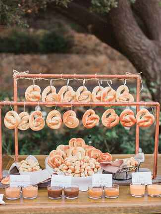 Pretzel bar idea for wedding reception food station
