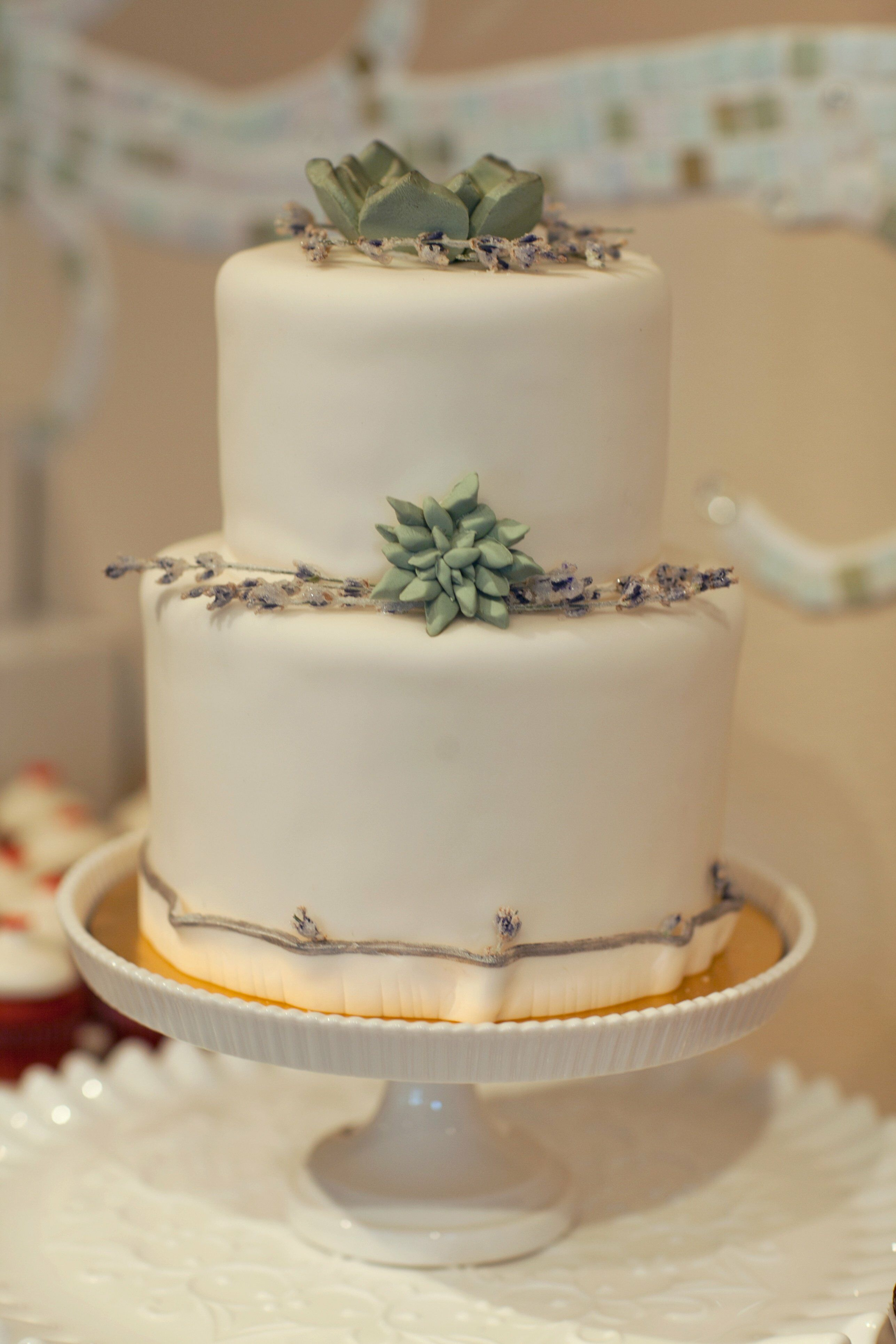 Simple Wedding Cake With Succulent Accents