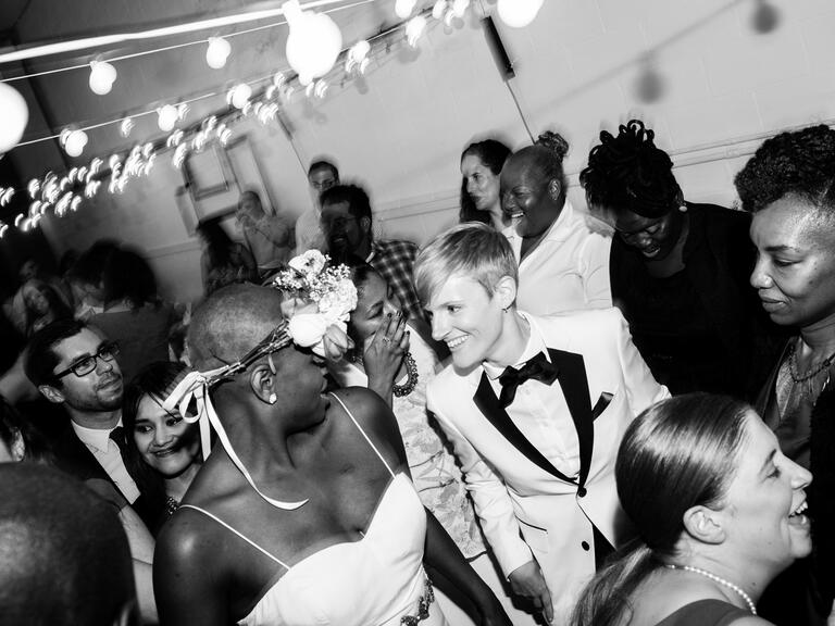 Brides dance at their reception