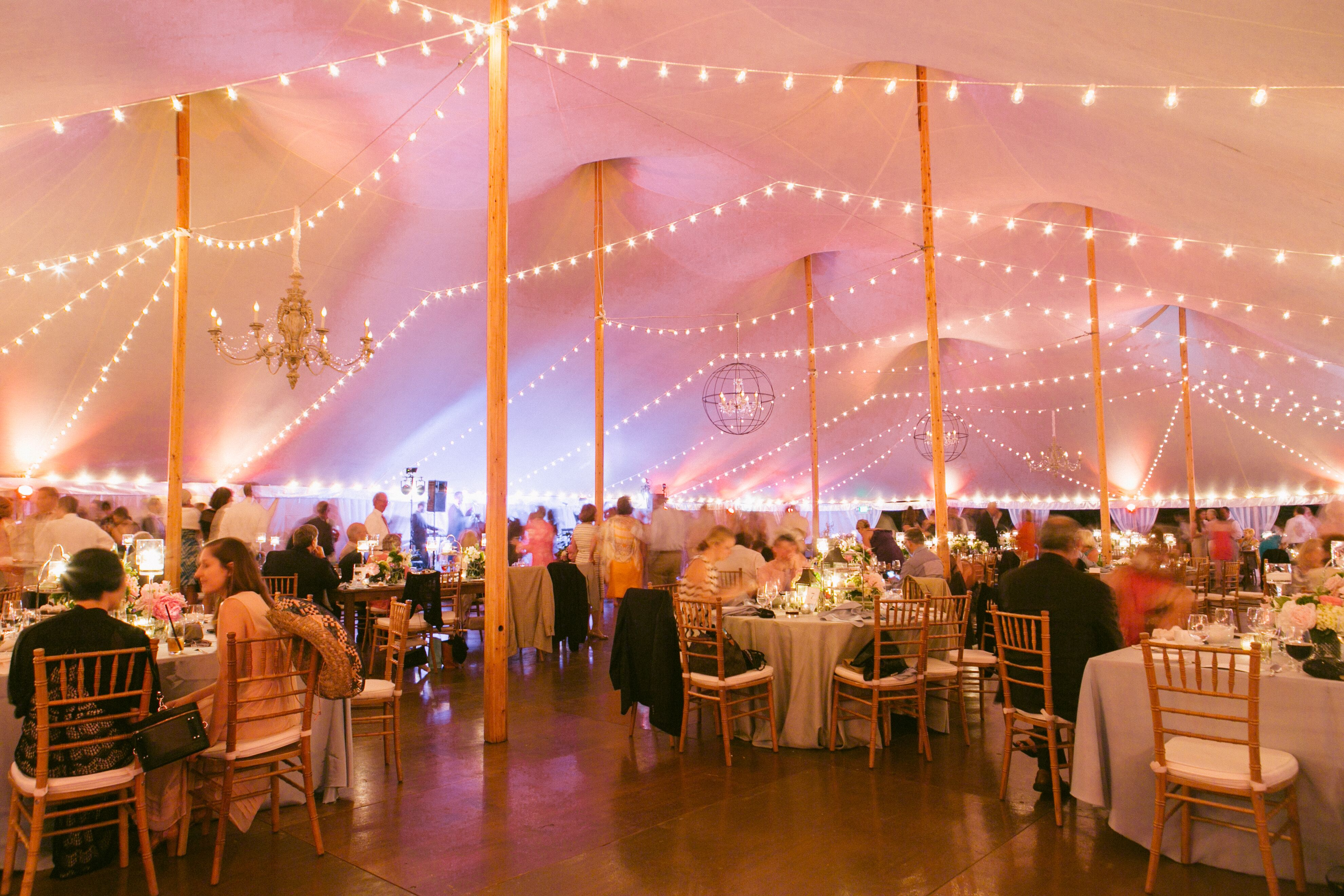 String Light Reception Tent Decor