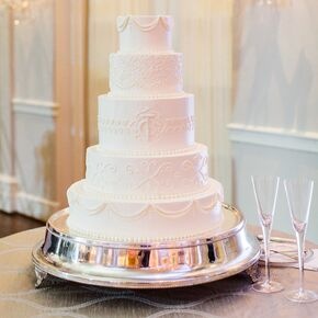 Classic White Cake With Decorative Piping