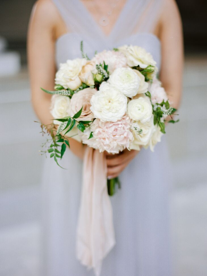 Romantic Ivory and Blush Rose, Ranunculus and Zinnia Bouquet