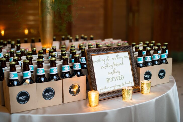 "To incorporate their shared love of craft beer, Katherine and Eric brewed their own ""Hoppily Ever After"" IPA and paired it with Chicago-style popcorn for the guest favors."