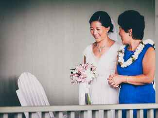 Mother of the bride at Hawaiian wedding