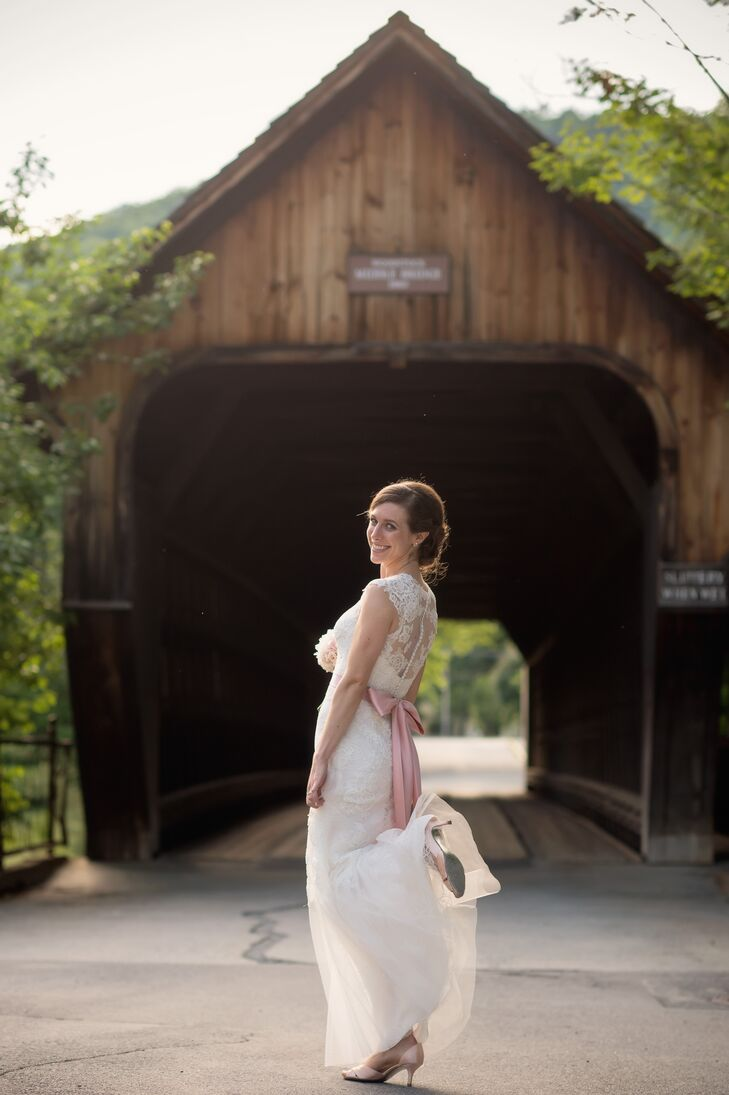 """For the reception, I wanted to switch into a fun and airy dress,"" says Nellie. After the ceremony, she shed her grandmother's vintage wedding dress in favor of a more modern, A-line gown by Monique Lhuillier."