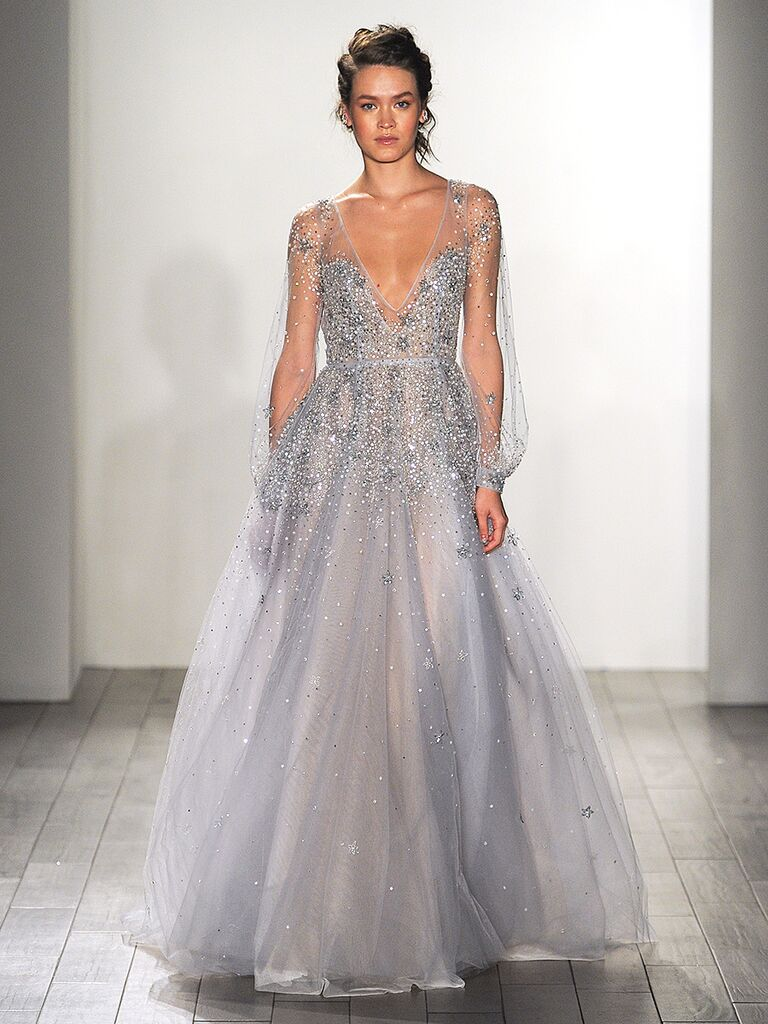 Dusty Blue Ethereal Wedding Gown By Hayley Paige With Long Sleeves And Plunging Neckline