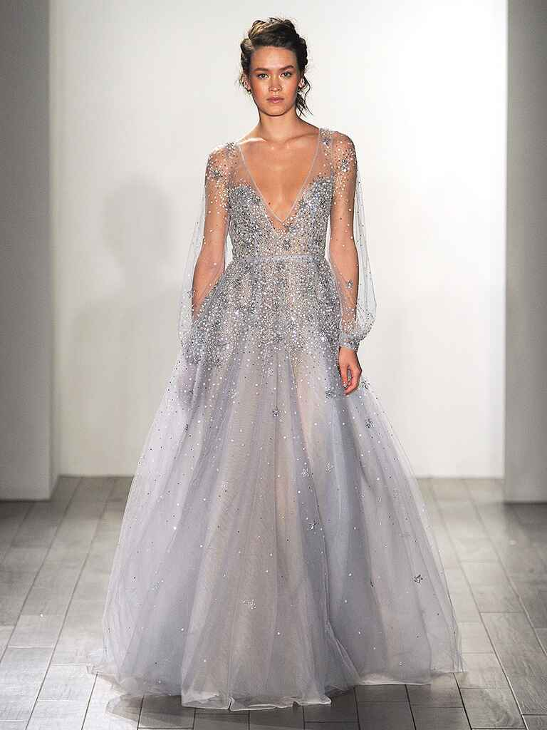 20 dreamy blue wedding gowns for Blue wedding dress with sleeves