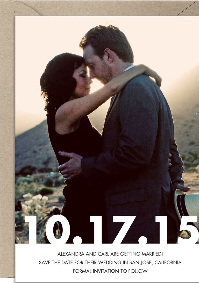 Engagement photo save-the-date from Paper Source