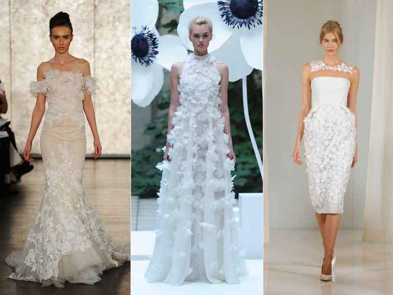 Wedding dresses with 3-D floral embellishment from bridal fashion week fall 2016
