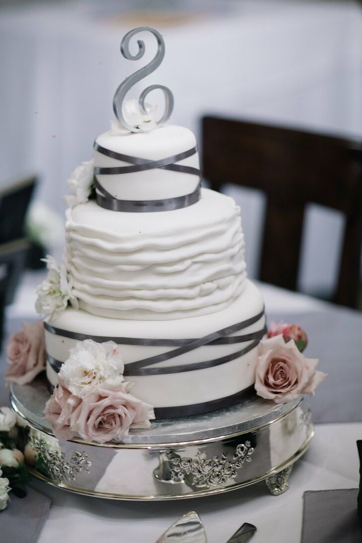 White and Grey Wedding Cake with Fresh Flowers