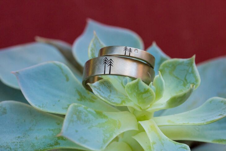 nature inspired engraved engagement rings with tree design - Nature Wedding Rings