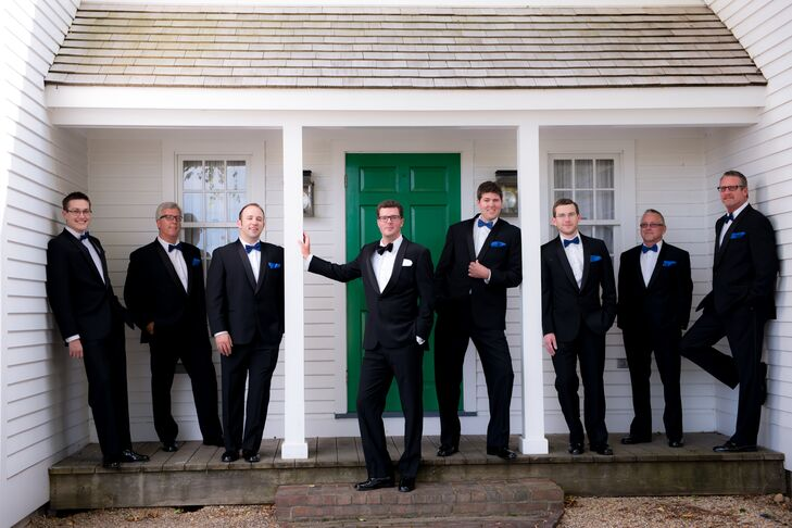Groomsmen in Classic Black and White Tuxedos